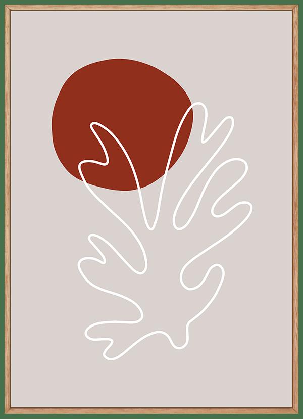 Quadro Decorativo Abstrato Sol Vermelho e Folha - Inspiração Matisse