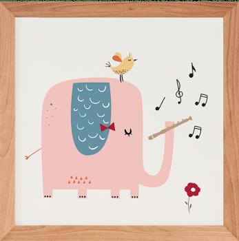 Quadro Decorativo Infantil Elefante Musical 2