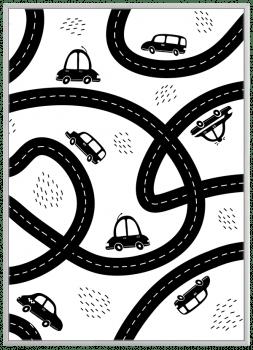 Quadro Decorativo Infantil Carrinhos Estrada Preto e Branco
