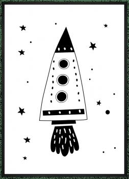Quadro Infantil Foguete Céu e Espaço Preto e Branco 2