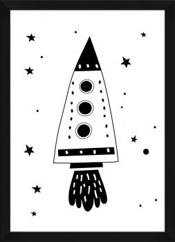 Quadro Decorativo Infantil Foguete Céu e Espaço Preto e Branco 2