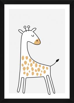 Quadro Decorativo Infantil Girafa Bege Safari
