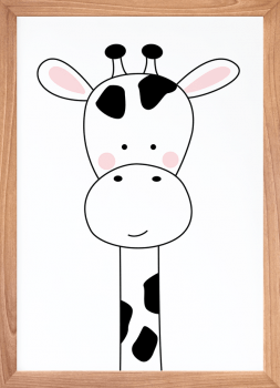 Quadro Decorativo Infantil Girafa Preto e Branco