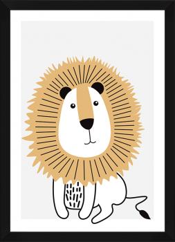 Quadro Decorativo Infantil Leão Bege Safari