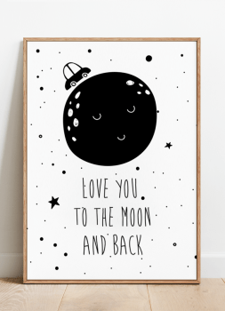 Quadro Infantil Lua Love You to the Moon Frase 2
