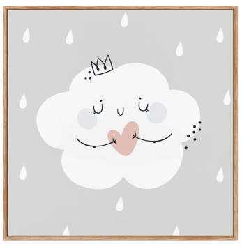 Quadro Infantil Nuvem - Claro Neutro
