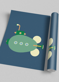 Quadro Decorativo Infantil Submarino Steampunk 2