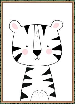 Quadro Decorativo Infantil Tigre Preto e Branco