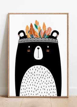 Quadro Infantil Urso Índio Étnico Cocar