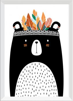 Quadro Decorativo Infantil Urso Índio Étnico Cocar