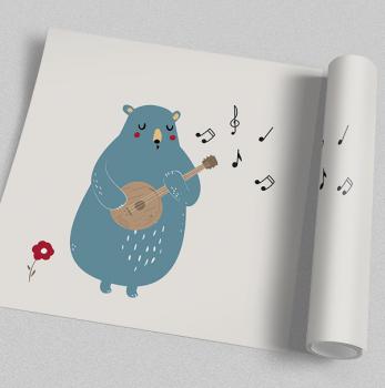 Quadro Infantil Urso Musical 2