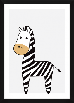 Quadro Decorativo Infantil Zebra Bege Safari