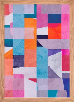 Quadro Decorativo Abstrato Faixas Coloridas