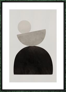 Quadro Abstrato Geométrico Formas Cinza