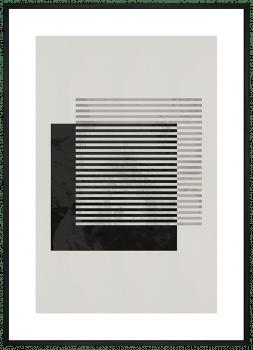 Quadro Decorativo Abstrato Geométrico Linhas Cinza e Preto