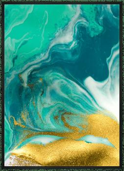 Quadro Decorativo Abstrato Mármore Azul Dourado