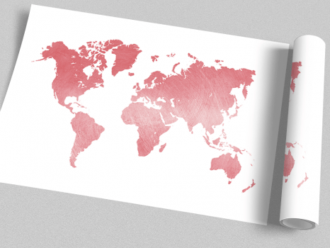Quadro Mapa Mundi Rosa Com Textura