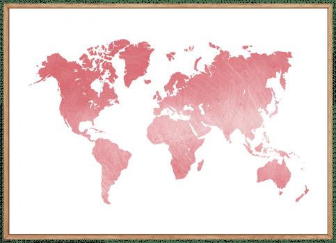 Quadro Decorativo Mapa Mundi Rosa Com Textura