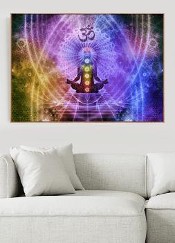 Quadro Decorativo Meditação Yoga Chakras Om