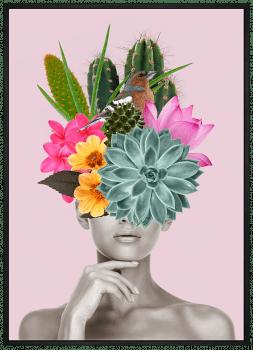 Quadro Decorativo Mulher Cactos e Flores na Cabeça