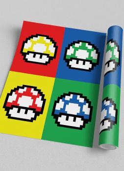 Quadro Decorativo Super Mario Cogumelos - Video Game